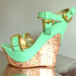 Shoes - Wedge sandals in mint green, gold & cork.